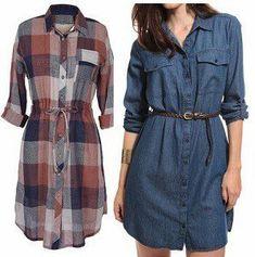 Patrón de vestido camisero Shirt Dress Pattern, Dress Patterns, Sewing Patterns, Chitenge Dresses, Modest Fashion, Fashion Dresses, Mode Hijab, Long Sweaters, Denim Fashion