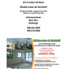 En lo mejor de Naco Múdate antes de Navidad!! Entrega Inmediata - Separa el Tuyo HOY Reserve su Visita Preferencial Informaciones: New Sea  Holdings  809.422.3820 809.218.4964