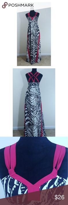 """Express Maxi Dress Beautiful Express Maxi Dress in Excellent Condition! Colors: Black/White/Hot Pink Material: 100% Polyester (silky feel)  Approximate Measurements: Armpit to Armpit: 13"""" Waist (elastic waistband under chest): 11"""" Length (Armpit to bottom hem): 48"""" Express Dresses Maxi"""