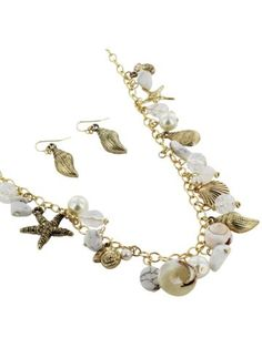 "26"" Goldtone and White Sea Life Themed Necklace and Earring Set"