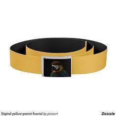 Digital yellow parrot fractal belt
