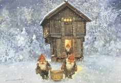 Nisse carrying home food from the Stabbur by Svein Solem this is how my mom grew up.  : )