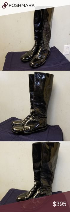 Authentic  Prada patent leather boots In perfect condition barely worn 100% Authentic Prada Patent leather boots with a zipper in the back with the logo on the bottom of the show and the flap on the zipper comes with a duster bag .. size 38 1/2 Prada Shoes Winter & Rain Boots