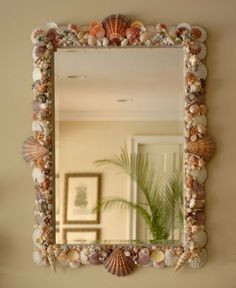 shell mirrors | Seashell Mirror with white and terracotta seashell pallet. | Elegant ...
