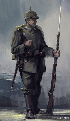 ArtStation - WWII Series - Geared up, James Paick Soldier Drawing, Ww1 Art, Military Drawings, Alternate History, World War One, Art Graphique, Military Art, Dieselpunk, Art History