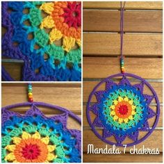 Risultati immagini per 7 chakras tejidos Crochet Round, Crochet Home, Love Crochet, Crochet Crafts, Crochet Flowers, Crochet Projects, Knit Crochet, Crochet Mandala Pattern, Doily Patterns