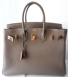 Hermes Birkin Bag 35cm Etoupe Taupe Tote Ghw Togo…