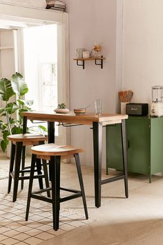 Wooden breakfast bar table for small kitchens. Live in a small home or apartment? Opt for a breakfast bar instead of a full dining table. Breakfast Bar Small Kitchen, Breakfast Bar Table, Small Kitchen Tables, Small Bar Table, High Top Table Kitchen, Kitchen Ideas, Small Dining, Small Kitchens, Ikea Kitchen