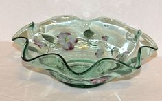 Hand Painted Glass Bowl Scalloped Border Green Tint Purple White Yellow Flowers