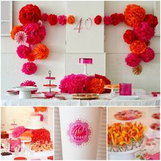 Celebrating 40 Years: Colors of red,oranges and fuschia