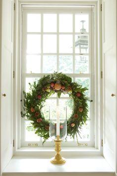 Window wreath and candle