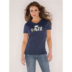 Touch by Alyssa Milano Utah Jazz V-Neck Tri-Blend Wordmark T-Shirt (Navy)