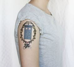 Doctor Who Tardis with sneakers and bow tie temporary tattoo