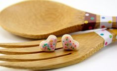 Shop for earrings on Etsy, the place to express your creativity through the buying and selling of handmade and vintage goods. Pink Velvet Cakes, Red Velvet, Little Crumb, Heart Shaped Cookies, Moist Cakes, Miniature Food, Heart Jewelry, Cute Earrings, Cute Stickers