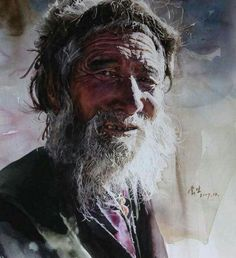 'Faces of Tibet' watercolour portrait by Liu Yungsheng Watercolor Portrait Painting, Watercolor And Ink, Portrait Art, Painting & Drawing, Best Portraits, Amazing Art, Drawings, Artwork, Watercolours