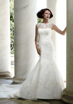 Classic Satin Floor Length Mermaid Dropped Court Train Wedding Dresses - 1300251018B - US$242.79 - BellasDress