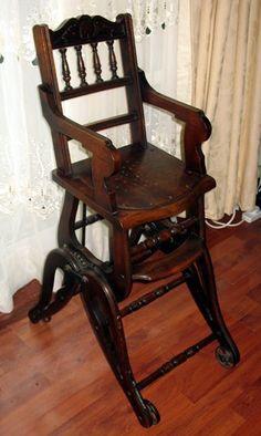 Antique : An attractive Victorian oak Childs metamorphic Chair