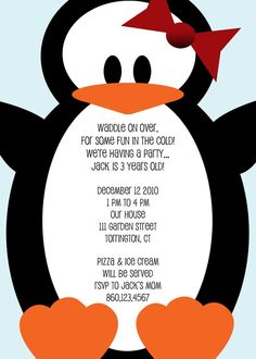 Cute Penguin invitation                                                                                                                                                                                 More