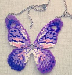 Butterfly perler bead necklace
