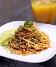 Loving them as I do, I'd be tempted to add even more green onions to this simple, delicious dish of Cold Sesame Noodles. #noodles #Asian #food #pasta #sesame