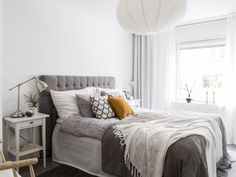 Bedroom decoration ideas grey headboard - Homestyling Paradisgatan 20 - Studio In AB
