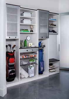 Sports Storage Garage and Shed Design Ideas, Pictures, Remodel and Decor Shed Design, Garage Design, Diy Garage Storage, Locker Storage, Storage Ideas, Storage Shelving, Storage Solutions, Storage Systems, Storage Hacks