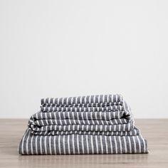 Linen Sheet Set - Indigo Stripe