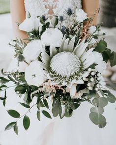 Blue Wedding Flowers Elegant white greenery wedding bouquet - king protea bouquet with eucalyptus {Alex Lasota Photography} - For wedding flowers that really pop, look no further than these stunning and unique king protea bouquets. Protea Wedding, White Wedding Bouquets, Bride Bouquets, Flower Bouquet Wedding, Floral Wedding, Fall Wedding, Wedding Colors, Wedding Trends, Wedding Bride