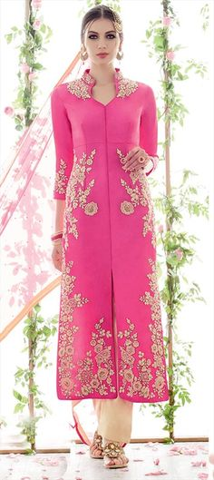 436936, Party Wear Salwar Kameez, Satin, Machine Embroidery, Thread, Pink and Majenta Color Family