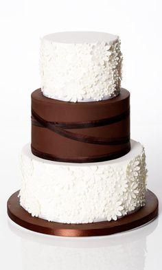 Ivory And Chocolate Brown Wedding Cake