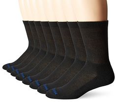MediPEDS Men's 8 Pack Diabetic Crew Socks with Non-Binding Top, Black, Shoe Size: Men 9-12 / Women 10-13 -- Click image to review more details.