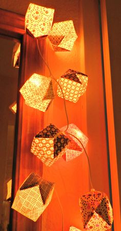 Origami Cube Chain of Lights Paper by SelbermacherAtelier on Etsy