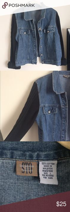 Vintage Denim Jacket Denim jacket with knit sweater sleeves. Brand is Susquehanna Trail Outfitters. Size large but could fit size a small or medium for an oversized look. Very good condition. Susquehanna Trail Outfitters Jackets & Coats Jean Jackets