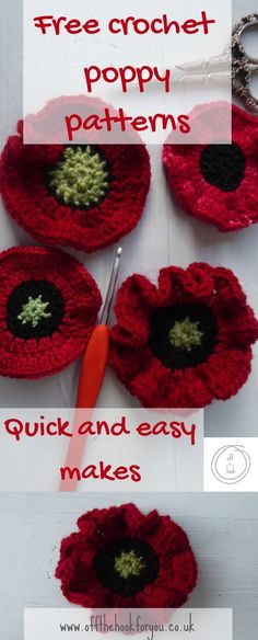 Free poppy patterns – off the hook for you crochet poppies, quick makes, crochet poppy pattern Knitted Poppy Free Pattern, Crochet Flower Patterns, Crochet Stitches Patterns, Crochet Flower Scarf, Knitting Patterns, Crochet Ideas, Crochet Fall, Easy Crochet, Free Crochet