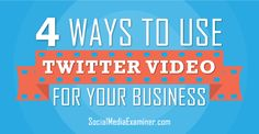 Twitter video is a great way to tell your story, connect with your audience and grow your Twitter following. #socialmediaexaminer