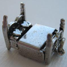 """Vintage Sterling Mechanical Four Poster Bed Charm """"U + I"""".."""