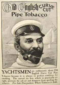 1900 Old English Pipe Tobacco Ad ~ Yachtsman Engraving