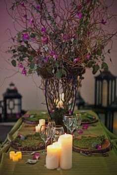 Enchanted Forest Wedding Centerpieces Once Upon a Wedding Enchanted Forest Prom, Enchanted Forest Decorations, Forest Wedding Decorations, Wedding Table Centerpieces, Woodland Wedding, Flower Centerpieces, Enchanted Wedding Themes, Table Decorations, Bridal Table