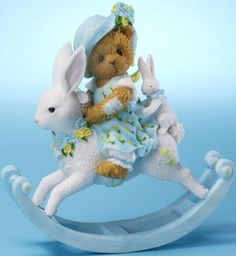 Cherished Teddies 4025787 Girl on Rocking Bunny Figurine Teddy Bear Priscilla and Glen Hillman Teddys Bears Collectibles Collectible Gift Gifts Clay Bear, Biscuit, Charlie Bears, My Teddy Bear, Boyds Bears, Bear Art, Collectible Figurines, Cold Porcelain, Little Girls