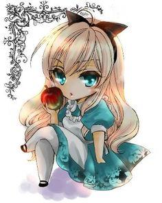 Anime girl - blond hair, turquise eyes, turquise-white-black dress, apple - chibi ^^