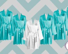 FREE ROBE - Set of 7 - Tiffany Blue - Personalized Satin Robes - Bridesmaid Gift - Wedding
