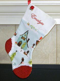 Christmas stocking Personalized Christmas Stocking: Reindeer Cottage cute girls stocking. large custom stocking on Etsy, $42.00