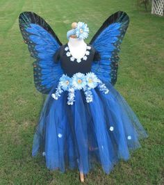 Boutique Blue Feather Butterfly Princess Girl Halloween Handmade Costume 5T - 8T