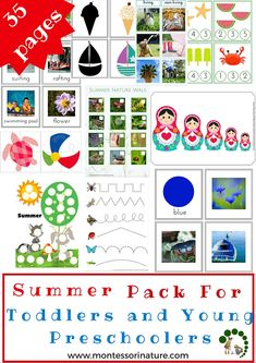 Fun and educational printables for young learners with a great variety of activities that address many skills, like fine motor, classification, counting, and many more. Sorting Activities, Montessori Activities, Hands On Activities, Summer Activities For Toddlers, Toddler Activities, Summer School Themes, Toddler Preschool, Montessori Toddler, Vocabulary Cards