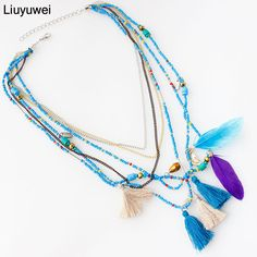 Cheap feather necklace, Buy Quality statement necklace directly from China multicolor necklace Suppliers: Liuyuwei MultiColor Feather Necklaces & Pendants Beads Chain Statement Necklace Women Collares Ethnic Jewelry for Gifts YWHYN324