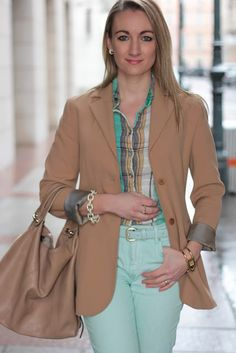 My today's outfit in soft pastel colors just makes me happy . Today's Outfit, Pastel Colors, Blazer, Happy, How To Make, Jackets, Outfits, Collection, Women