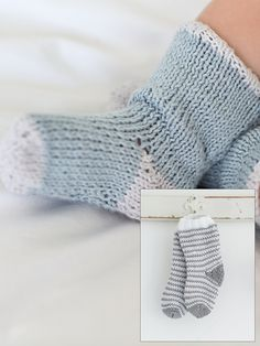 Socks -  Socks   Knit these cute socks by Linda Whaley. Featuring in Little Rowan Cherish in Summerlite 4ply, they have a cute picot trim and embroidery detail. They would be suitable for the knitter with some experience.