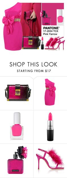 """""""Pantone Spring 2017 - Pink Yarrow"""" by emms-millinery ❤ liked on Polyvore featuring MCM, Notte by Marchesa, tenoverten, MAC Cosmetics, Victoria's Secret, Manolo Blahnik and pantone"""