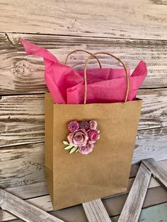 Your place to buy and sell all things handmade Creative Gift Wrapping, Creative Gifts, Paper Flower Decor, Paper Flowers, Diy Gifts, Cute Gifts, Decorated Gift Bags, My Coffee Shop, Craft Packaging