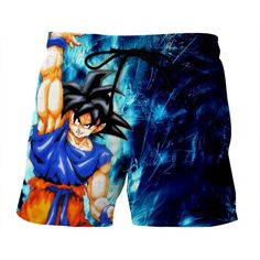 Dragon Ball Z Super Saiyan Son Goku Cool Blue Aura Boardshort